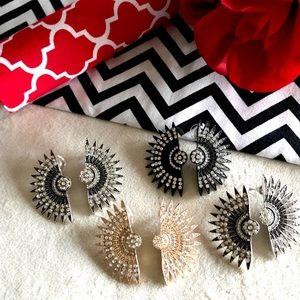 """Jewelry - ✨New! """"Vintage Aurora"""" Pavé Crystal Fan Earrings"""